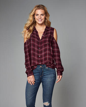 ANF Plaid Cold Shoulder Top