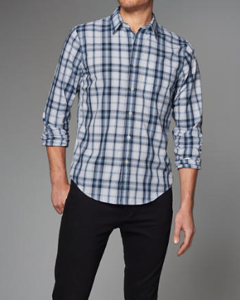 Mens Plaid Cotton Poplin Shirt