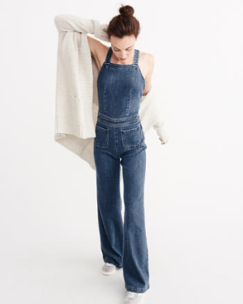 ANF Denim Flare Jumpsuit