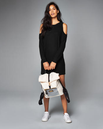 Womens Cold Shoulder Shift Dress