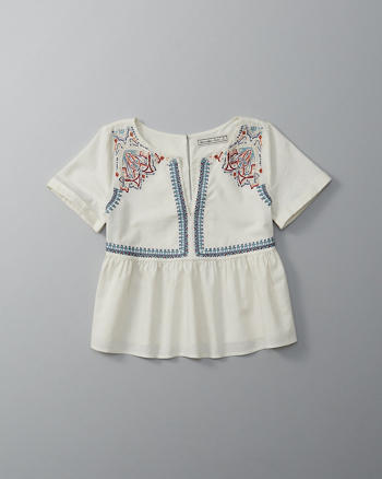 ANF Embroidered Yoke Peasant Top