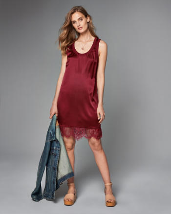 Womens Silk-Blend Lace-Trim Dress