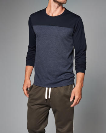 Mens Color Block Long-Sleeve Tee