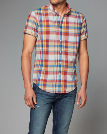 Mens Plaid Madras Short-Sleeve Shirt