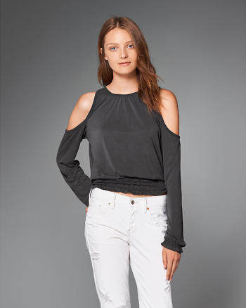 ANF Knit Cold Shoulder Peasant Top
