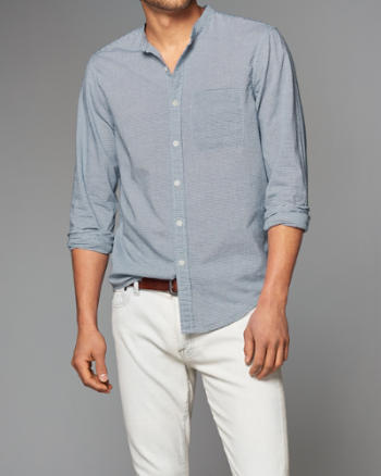 Mens Madras Banded Shirt
