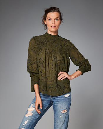 ANF Smocked Mock Neck Top