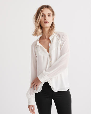 ANF Smocked Mock Neck Peasant Top