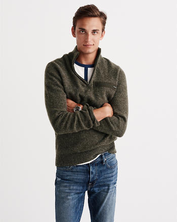 ANF Wool Military Half-Zip Sweater