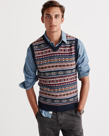 ANF Wool-Blend Fair Isle Sweater Vest