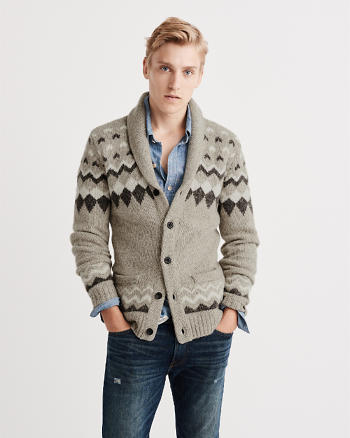 ANF Wool-Blend Fair Isle Shawl Cardigan