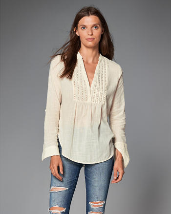 ANF Embellished Bib Peasant Top