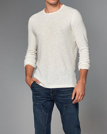 Mens Ribbed Slub Long-Sleeve Tee