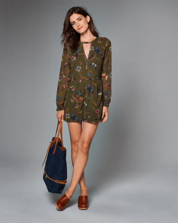 Womens Cutout Long-Sleeve Romper