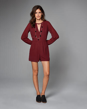 ANF Cutout Long-Sleeve Romper