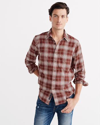 ANF Herringbone Plaid Rumple Shirt