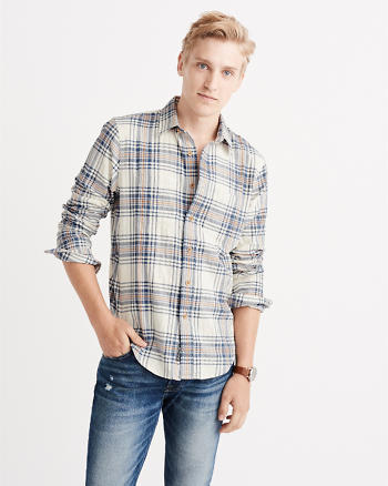 ANF Herringbone Rumple Plaid Shirt