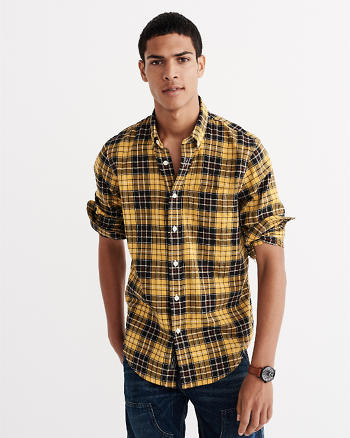 ANF Relaxed Fit Herringbone Rumple Plaid Shirt