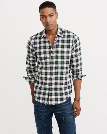 ANF Herringbone Rumple Shirt