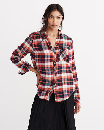 ANF Classic Fit Flannel Button-Up Shirt