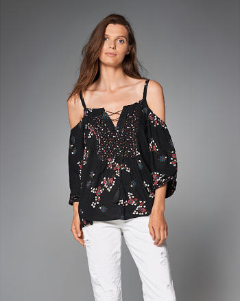 ANF Printed Cold Shoulder Top