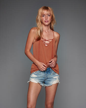 ANF Lace Up Tassel Cami