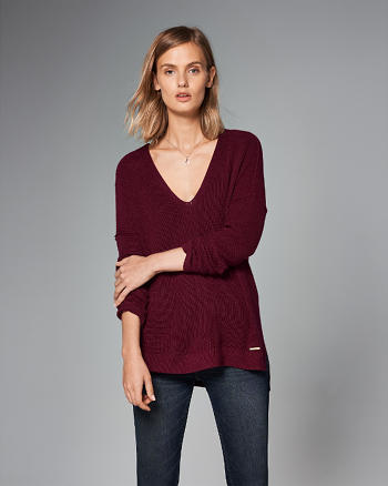 ANF Shaker Ribbed V-Neck Sweater