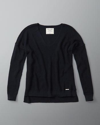 ANF Shaker Ribbed V-Neck Sweater