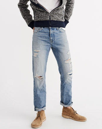ANF Ripped Classic Straight Jeans