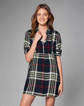 ANF Plaid Pintuck Shirtdress