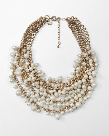 Womens Faux Pearl Cluster Statement Necklace