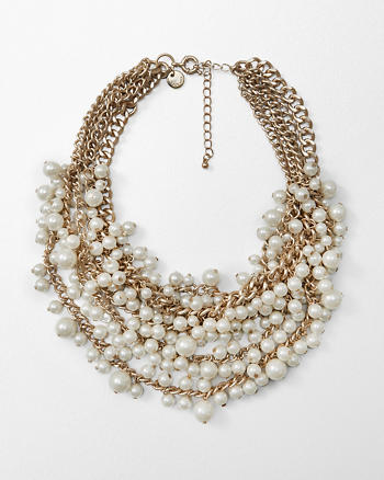 ANF Faux Pearl Cluster Statement Necklace