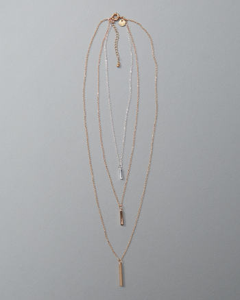 Womens Bar Pendant Layered Necklace