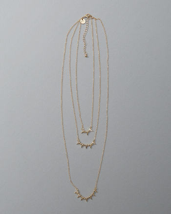 Womens Pointed Pendant Layered Necklace