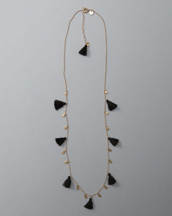 Womens Fringe Tassel Station Necklace