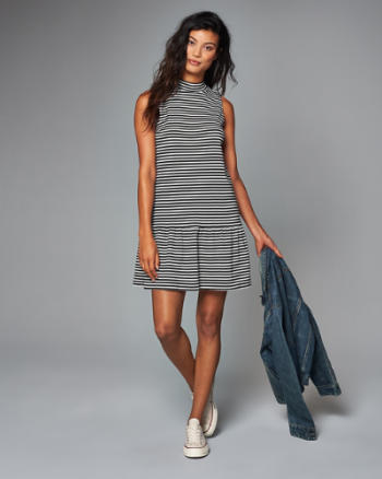 Womens Striped Mock Neck Drop Waist Dress