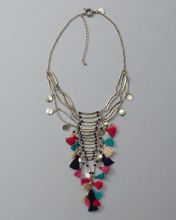 Womens Tassel Tiered Statement Necklace