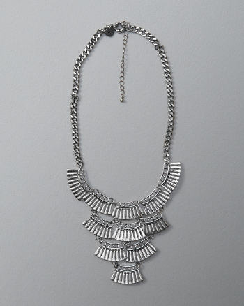 Womens Textured Tiered Statement Necklace
