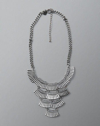 ANF Textured Tiered Statement Necklace