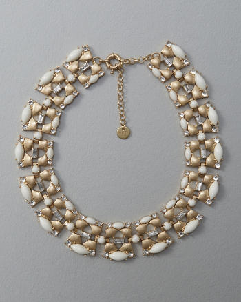 Womens Bead & Rhinestone Statement Necklace