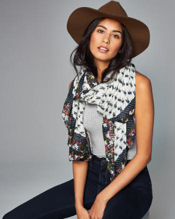 Womens Floral Border Square Scarf
