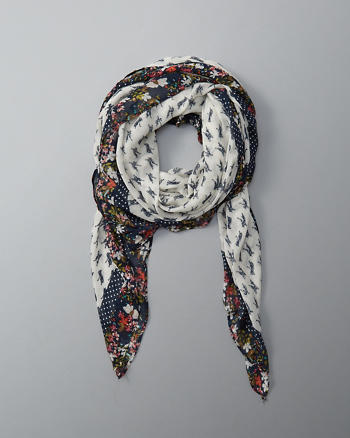 ANF Floral Border Square Scarf