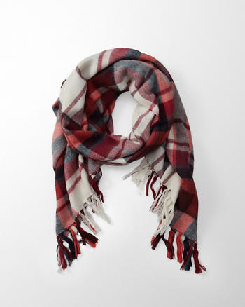ANF Fringe-Trim Patterned Scarf