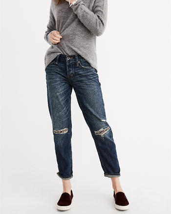 ANF Embellished Patch And Repair Boyfriend Jeans