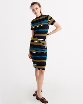 ANF Striped Ponte Midi Dress