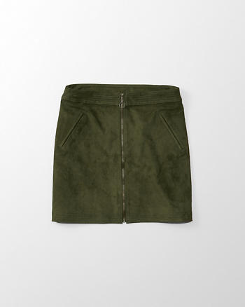 ANF Faux Suede Zip A-Line Skirt
