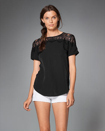 ANF Lace Accent Short-Sleeve Top
