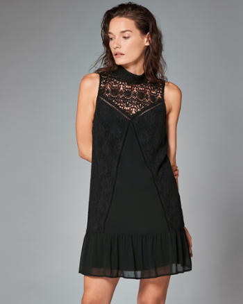 Womens Lace High Neck Shift Dress