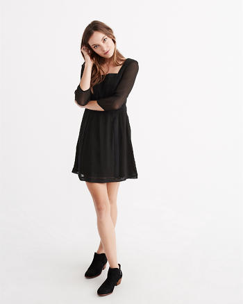 ANF Chiffon Square Neck Dress