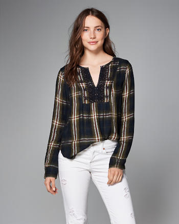 ANF Plaid Peasant Top